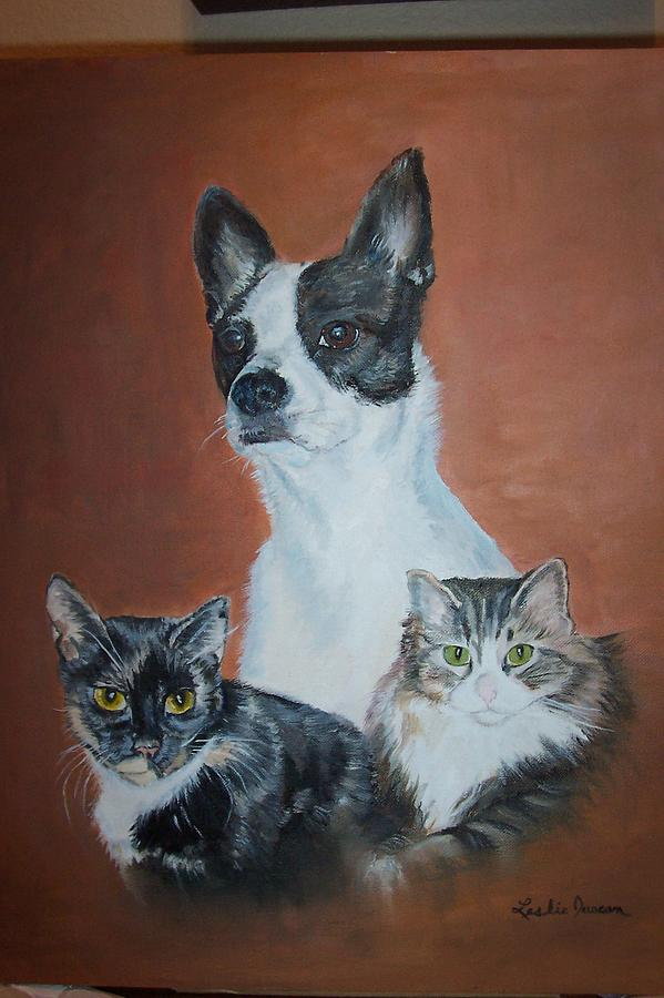 Animals Painting - Lucy Posie And Hope by Leslie Duncan