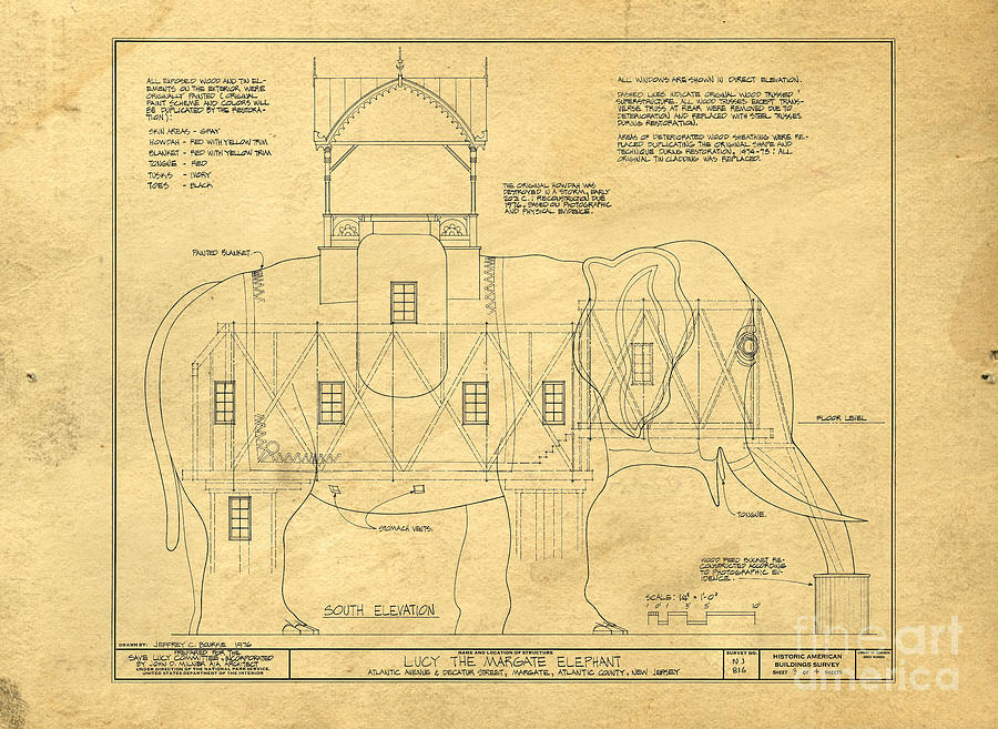 Lucy Photograph - Lucy the Elephant Building Patent Blueprint  by Edward Fielding