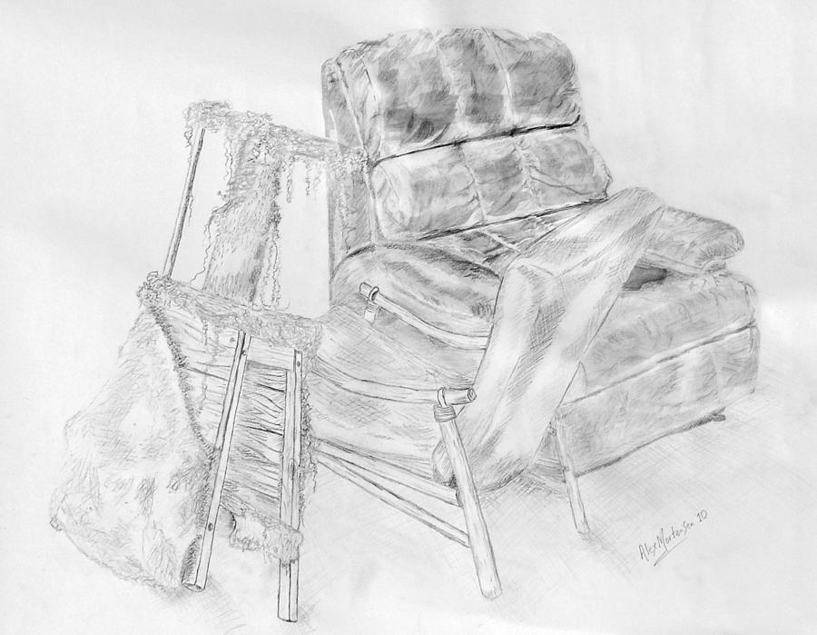 Chair Drawing - Lucyas Stool  2010 by Alex Mortensen