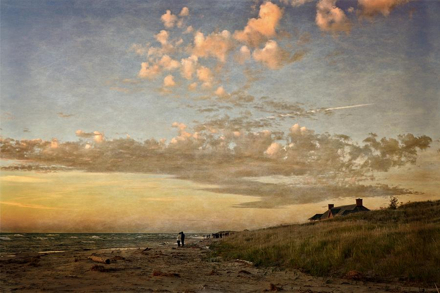 Ludington State Park Beach House at Sunset by Michelle Calkins