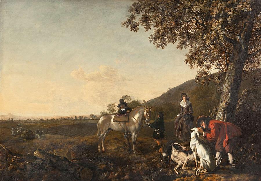Man Painting - Ludolph De Jongh And Joris Van Der Hagen 1616 Rotterdam - Hillegersberg 1679 Or 1615 Hunting Party A by Ludolph de Jongh and Joris van der Hagen