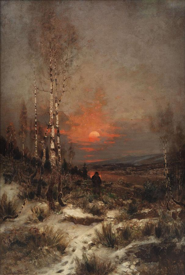 Nature Painting - Ludwig Deutsch, Hunting In The Winter by Ludwig Deutsch