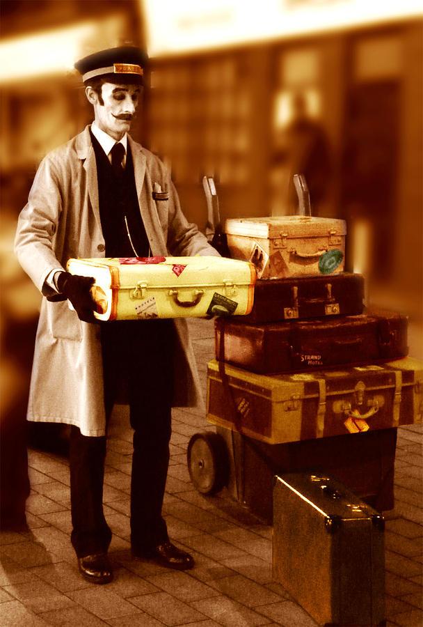 Street Theatre Digital Art - Luggage Please by Peter Jenkins