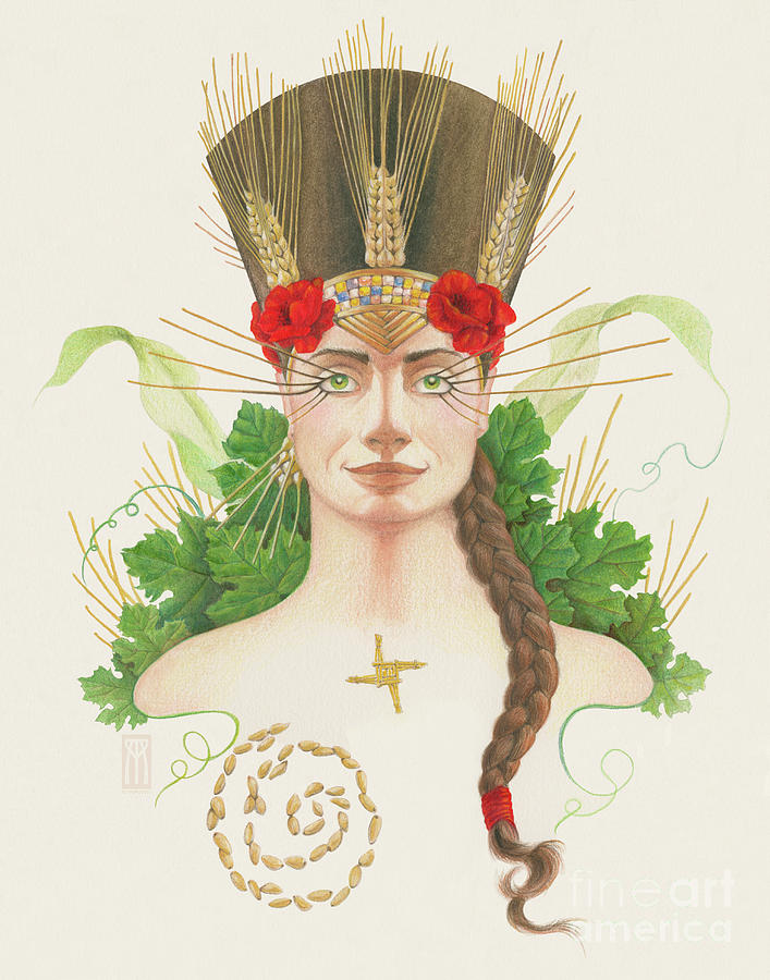 Lughnasadh Goddess Portrait Mixed Media