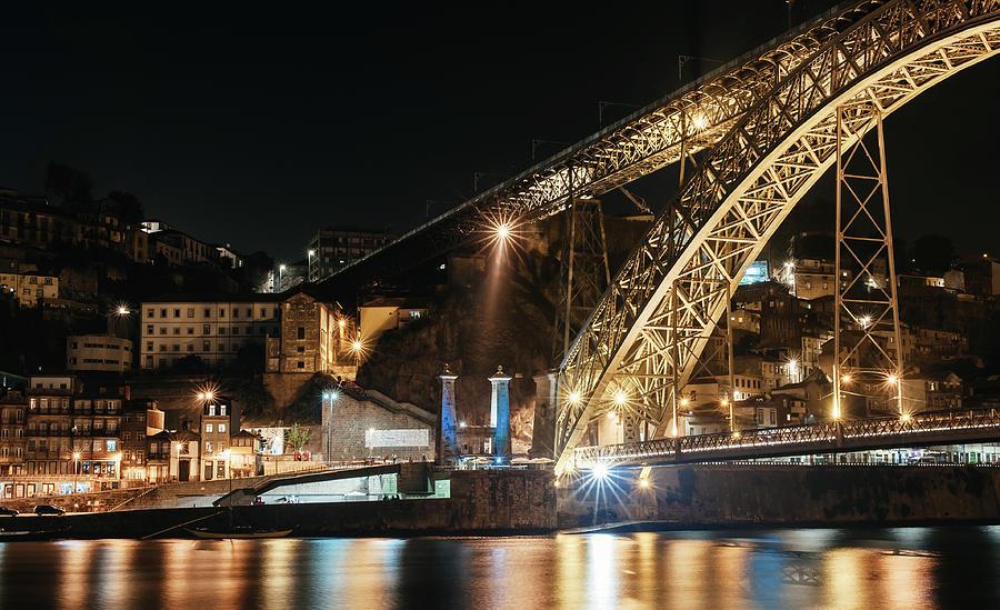 City Photograph - Bridge Dom Luis At Night. Porto by Maksym Kaharlytskyi