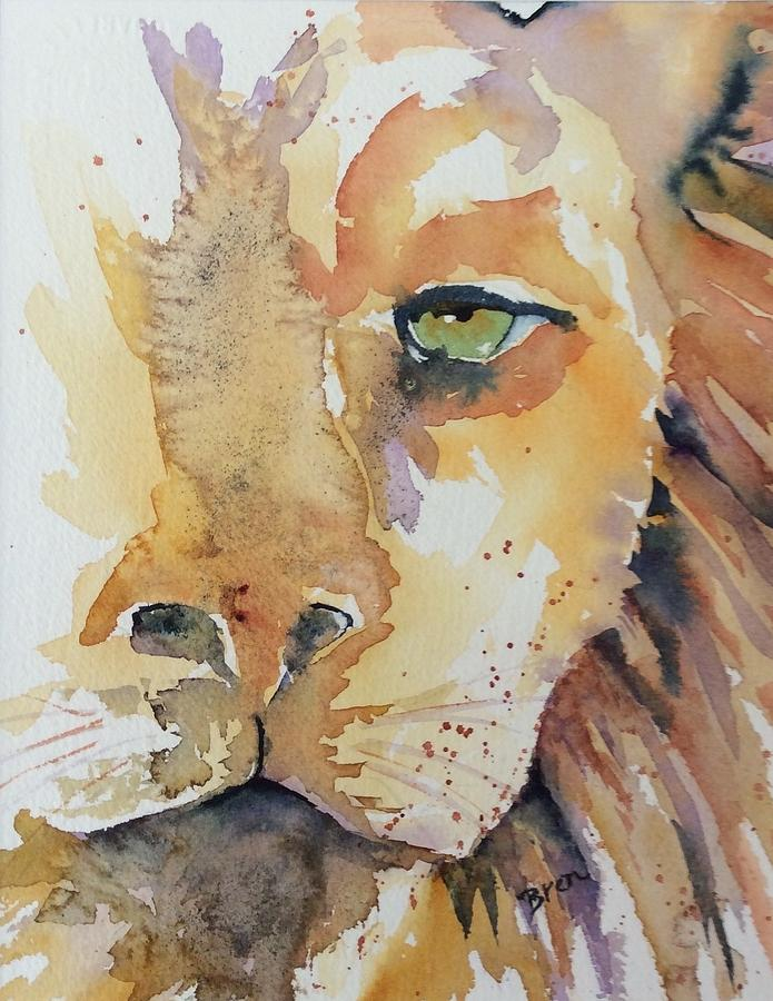 Luka The Lion Painting by Bren Sparling