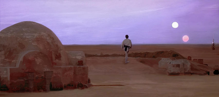 Tatooine Mixed Media - Luke Skywalker Tatooine Sunset by Mitch Boyce