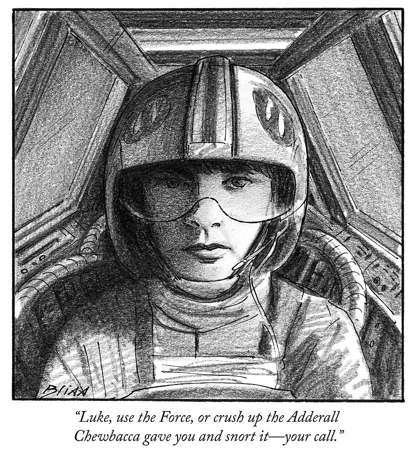 Luke use the Force Drawing by Harry Bliss