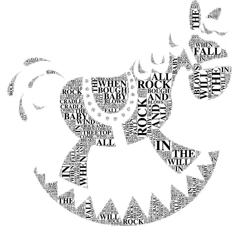 Typography Digital Art - Lullaby Rock by Alice Gipson