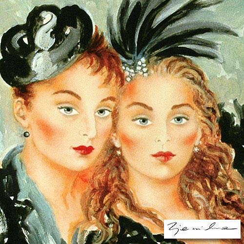 Women Painting - Lulu And Lili by Zjawinska Joanna