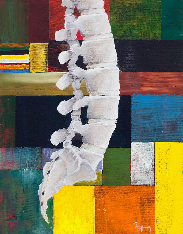 Spine Painting - Lumbar Spine by Sara Young