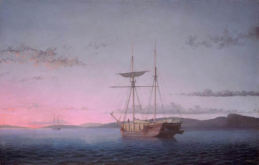 Nature Painting - Lumber Schooners At Evening On Penobscot Bay By Fitz Henry Lane, 1863 by Fitz Henry Lane