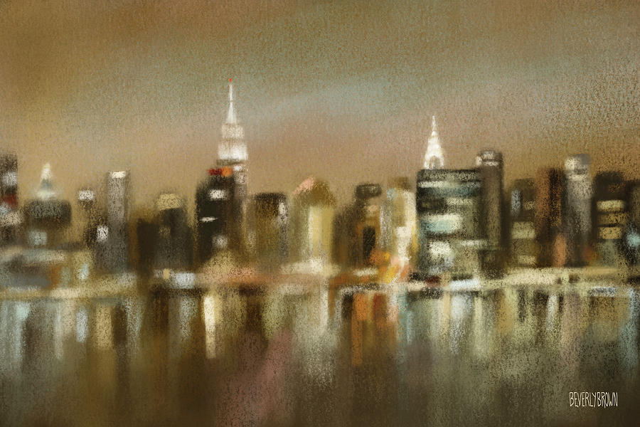 New York Painting - Luminous New York Skyline  by Beverly Brown