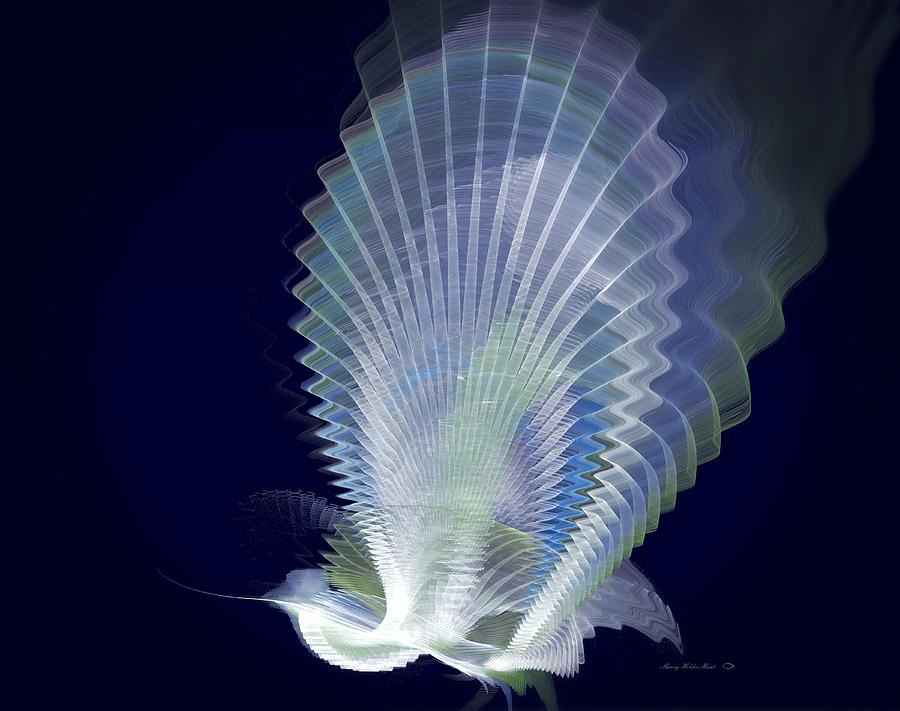 Abstract Digital Art - Luminous Peacock by Sherry Holder Hunt