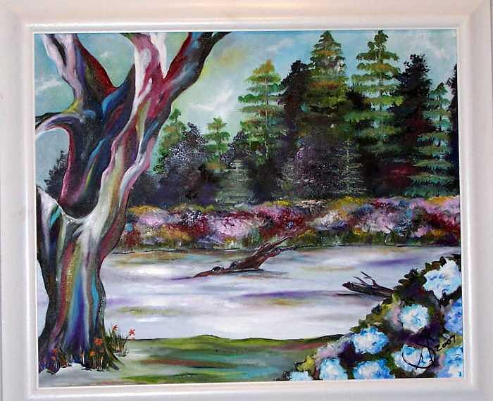 Pond Painting - Lumps On A Log SOLD by Amanda  Sanford