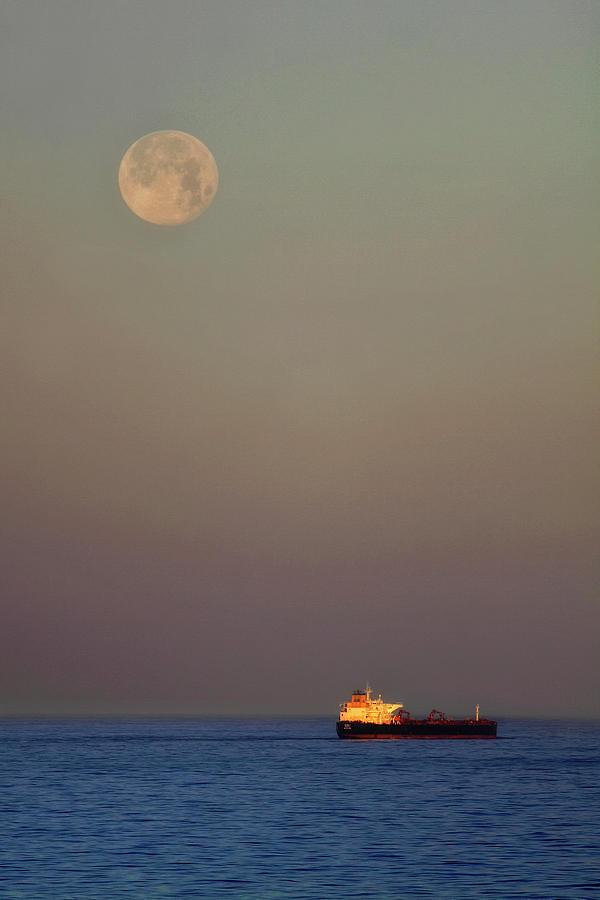 Luna and the Ship - Ocean - Cargo Ship - Seascape by Jason Politte