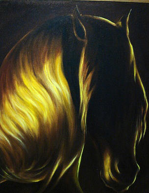 Luna Dorada  Golden Moon Painting by Nini Larranaga