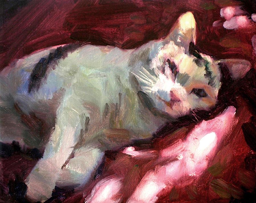 Cat Painting - Luna In The Sun by Merle Keller