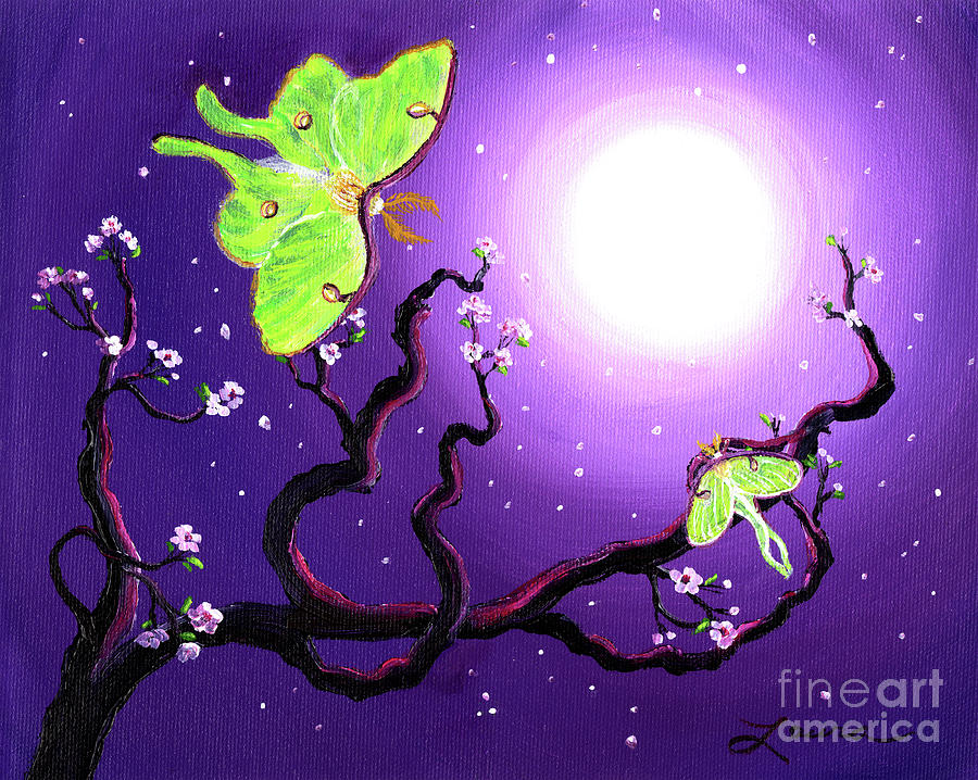 Moth Painting - Luna Moths In Moonlight by Laura Iverson