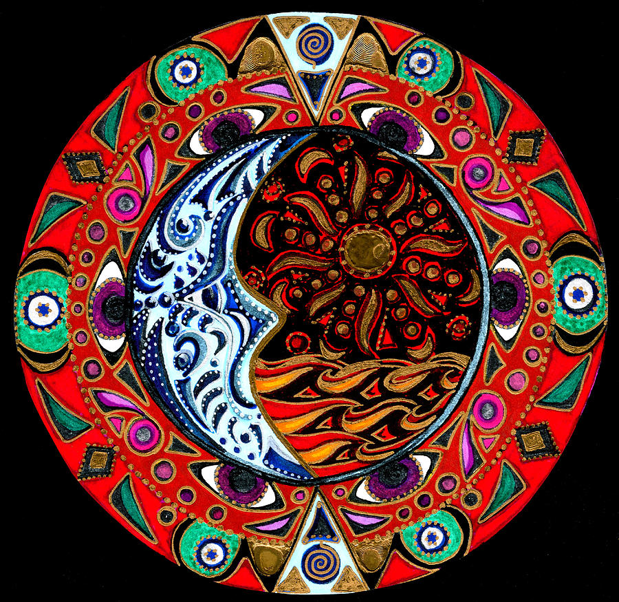 Mandala Painting - Luna Sea by Pam Ellis