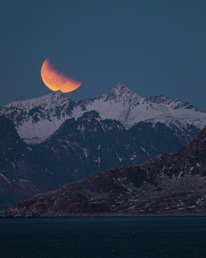 Lunar Photograph - Lunar Eclipse In Lofoten by Alex Conu