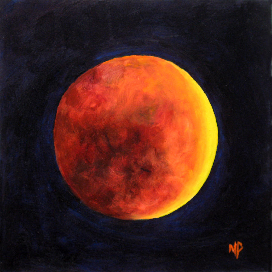 Moon Painting - Lunar Eclipse by Marina Petro
