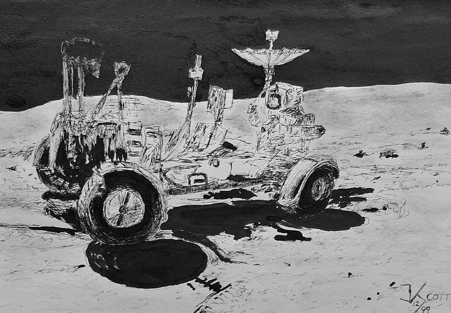 Apollo Drawing - Lunar Rover on the Moon by James Scotti