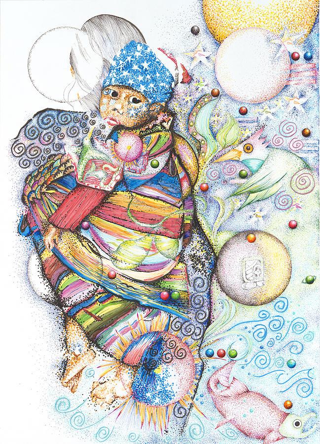 Mayan Drawing - Lunas Y Estrellas Perdidas- Sombra De Arreguin by Doug Johnson