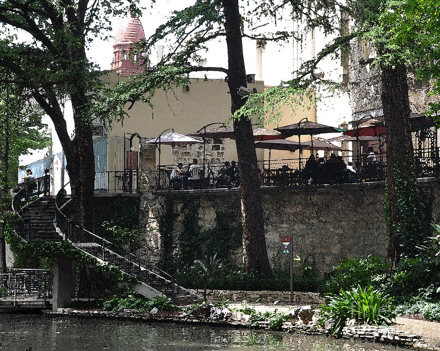 San Antonio Digital Art - Lunch Above The River Walk by Kirt Tisdale