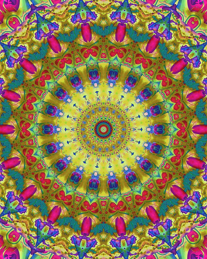 Kaleidoscope Digital Art - Lunch At The Eighteen Roses Sidewalk Cafe by Myxtl Turnipseed