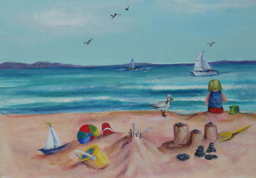 Beach Painting - Lunch Break by Cathi Doherty