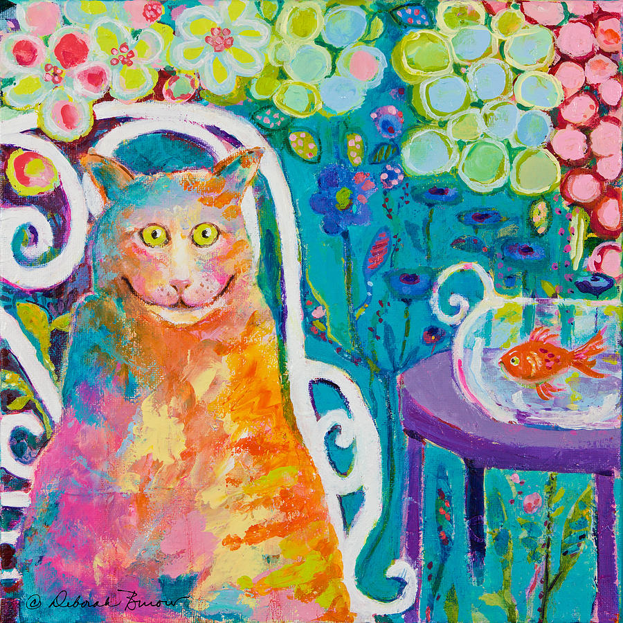 Goldfish In Bowl Painting - Lunch Cat by Deborah Burow