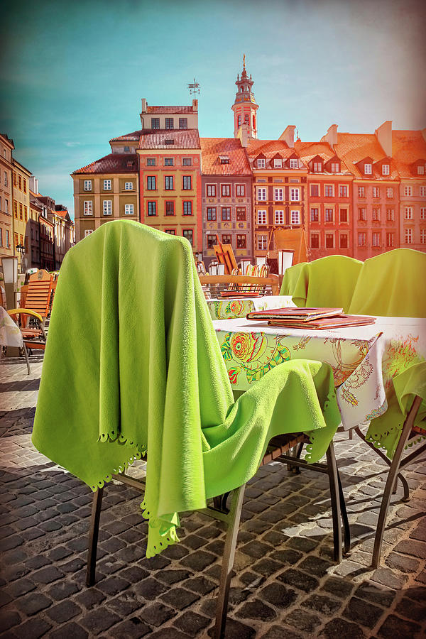 Lunch in the Old Town Square Warsaw Poland  by Carol Japp