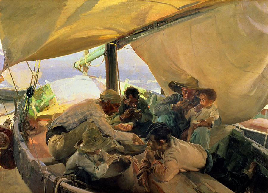 Boat Painting - Lunch On The Boat by Joaquin Sorolla y Bastida