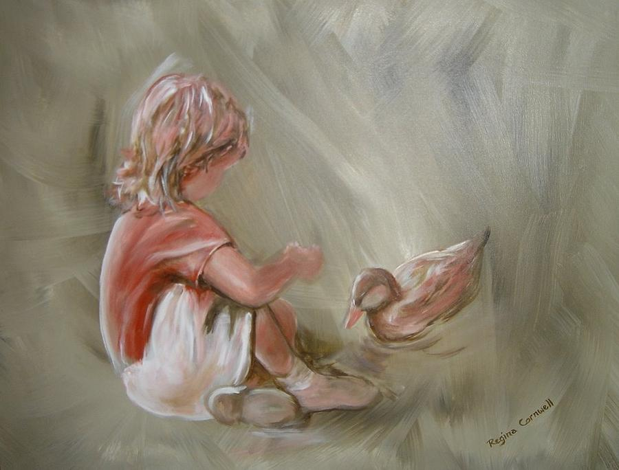 Girl Painting - Lunch Pals by Regina Walsh