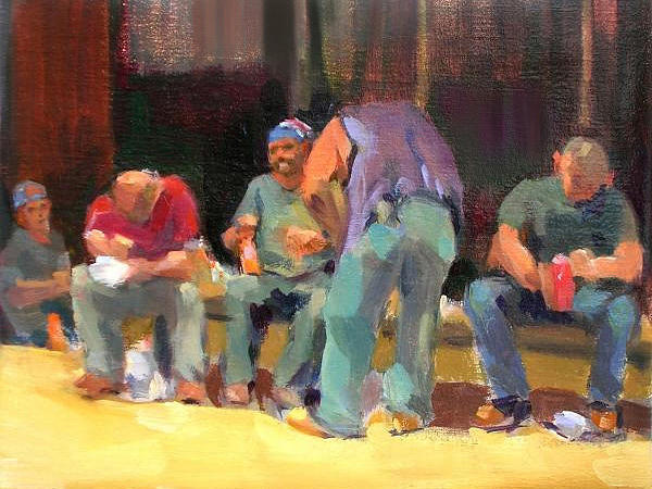 Cityscape Painting - Lunch Time - Men At Work Series by Merle Keller