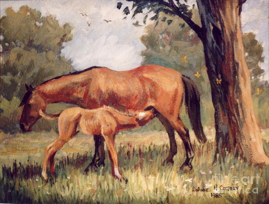 Lunchtime Painting - Lunchtime   Mare And Foal by JoAnne Corpany