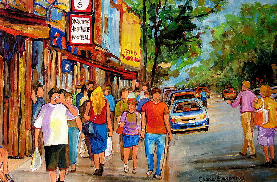 Schwartzs Deli Painting - Lunchtime On Mainstreet by Carole Spandau