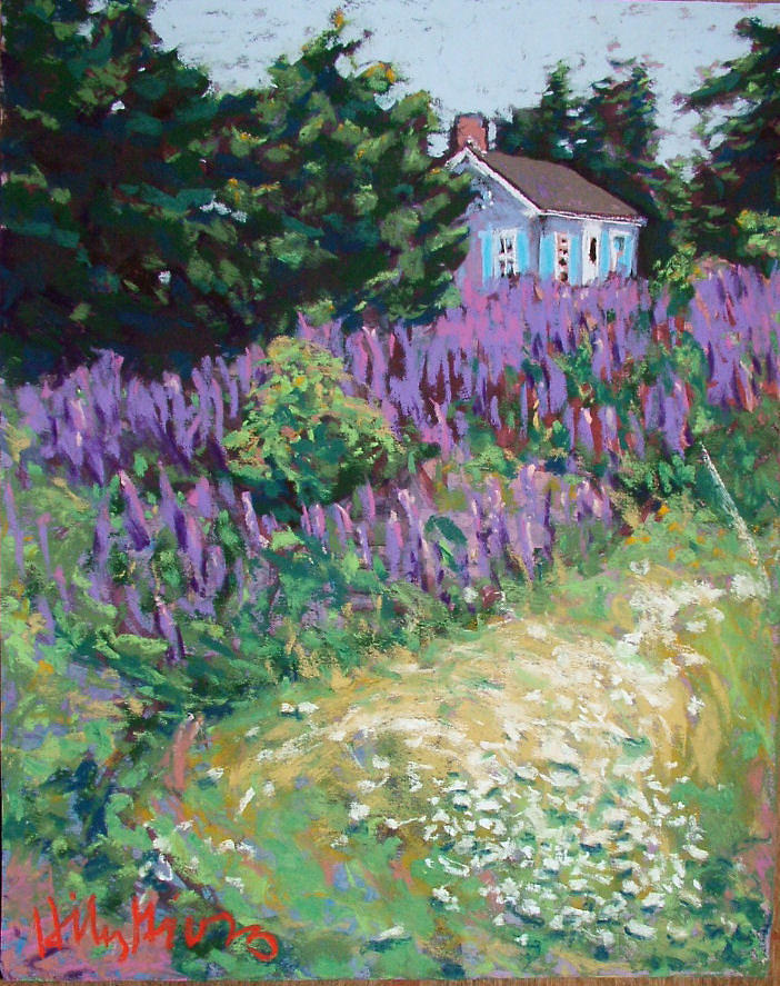 Landscape Painting - Lupine Cottage In Maine by Hillary Gross