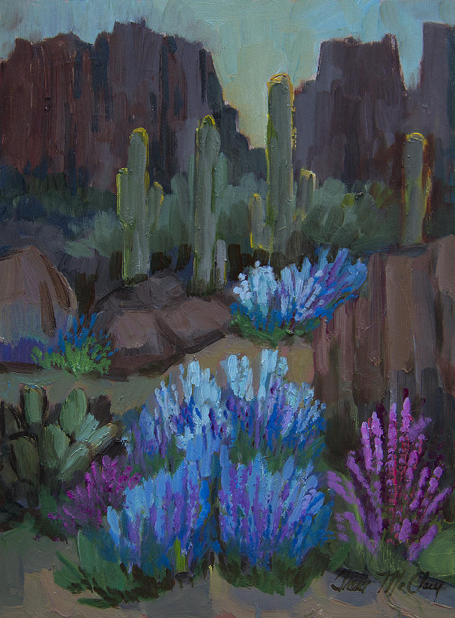 Arizona Painting - Lupine In Bloom At Boyce Thompson Arboretum by Diane McClary
