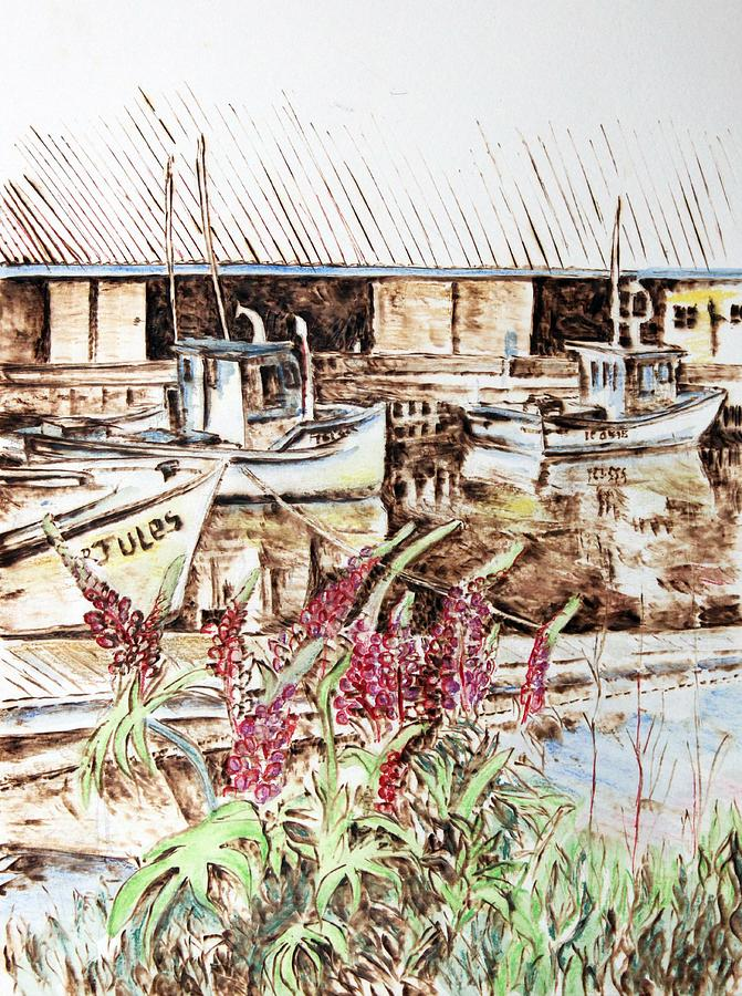Pyrography Painting - Lupines At Murray Harbour by Richard Jules