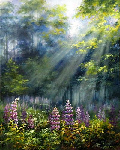 Lupines Painting - Lupines In Sunrays by Varvara Harmon