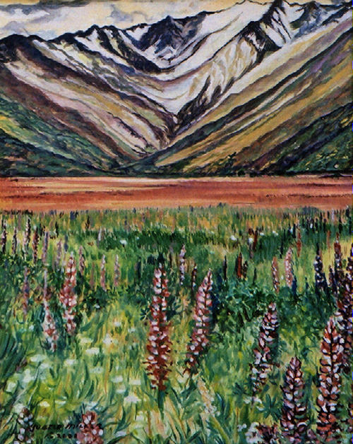 Landscape Painting - Lupins by Yvette Miller