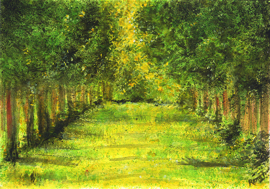 Green Painting - Tropical Trees Theosophical Society Chennai by Remy Francis
