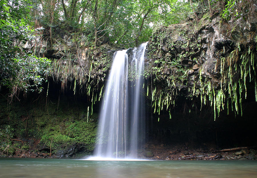 Twin Falls Photograph - Lush Tropical Waterfall Twin Falls On Maui Hawaii by Pierre Leclerc Photography