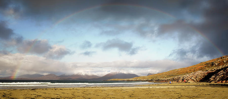 Luskentyre Photograph - Luskentyre Beach Panorama with Rainbow by Phillips and Phillips