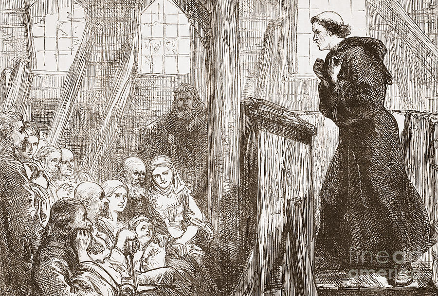 Luther Drawing - Luther Preaching In The Old Wooden Church At Wittemberg by English School