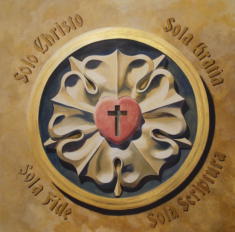Jesus Painting - Luthers Rose Interpretation by Joyce Hutchinson