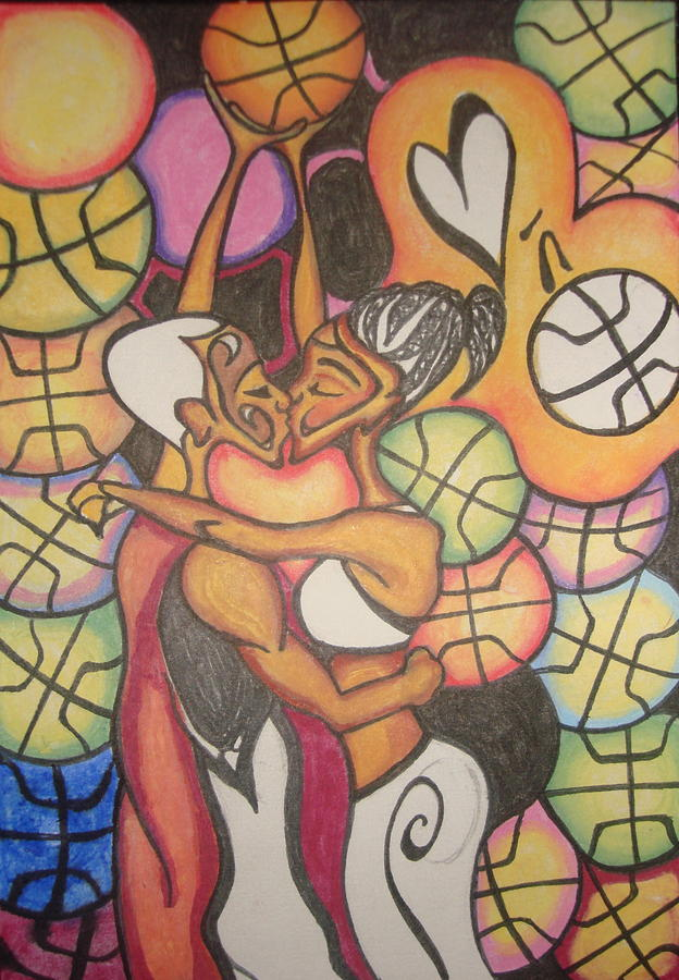 Pencil Drawing - Luv N Bball by Chibuzor Ejims