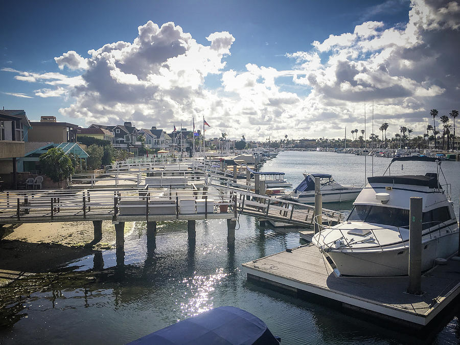 Yacht Photograph - Luxury Boats Moored At Naples Island, Long Beach, Ca by Bradley Hebdon